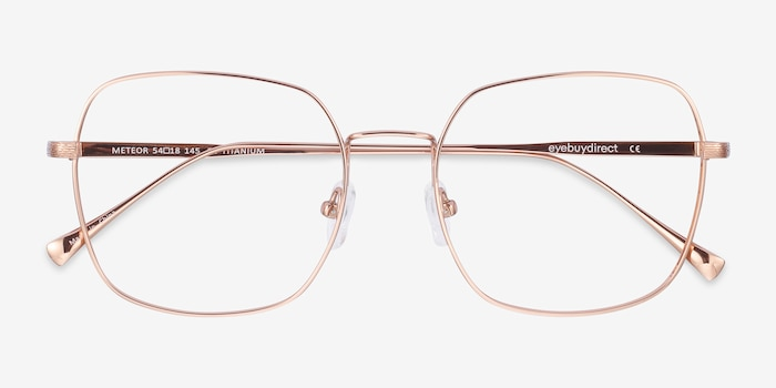 Meteor Rose Gold Titanium Eyeglass Frames from EyeBuyDirect, Closed View