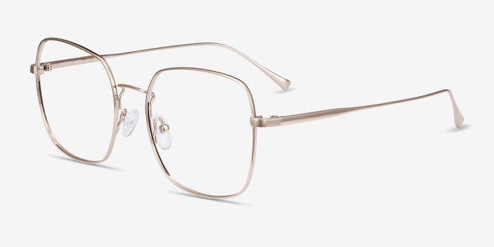 Meteor Gold Titanium Eyeglass Frames from EyeBuyDirect, Angle View