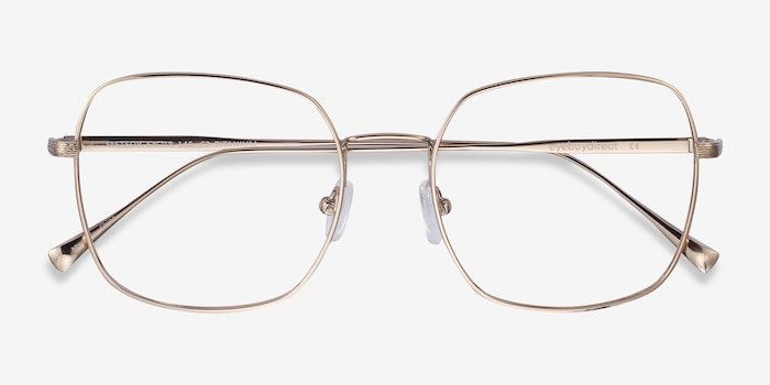 Meteor Gold Titanium Eyeglass Frames from EyeBuyDirect, Closed View