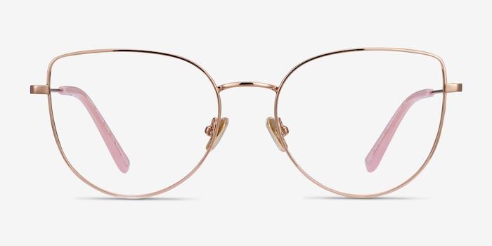 Imani Rose Gold Titanium Eyeglass Frames from EyeBuyDirect, Front View