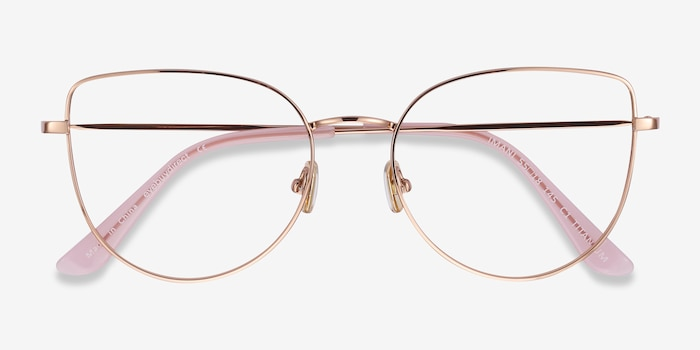 Imani Rose Gold Titanium Eyeglass Frames from EyeBuyDirect, Closed View