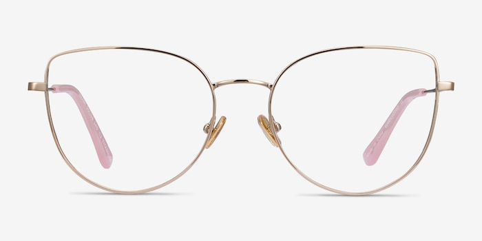Imani Gold Titanium Eyeglass Frames from EyeBuyDirect, Front View