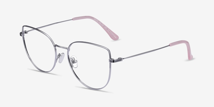 Imani Silver Titanium Eyeglass Frames from EyeBuyDirect, Angle View