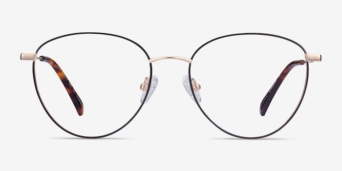 Lila Black & Gold Titanium Eyeglass Frames from EyeBuyDirect, Front View