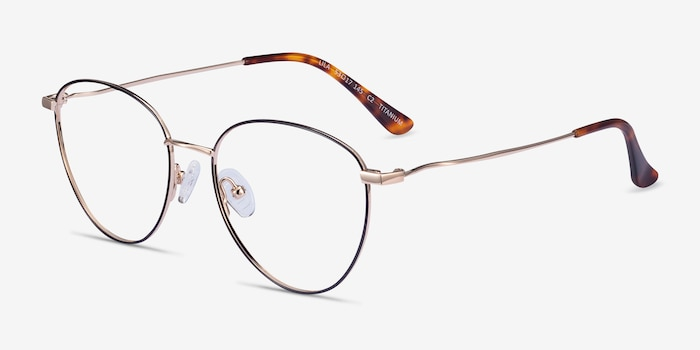 Lila Black & Gold Titanium Eyeglass Frames from EyeBuyDirect, Angle View