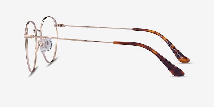 Lila Black & Gold Titanium Eyeglass Frames from EyeBuyDirect, Side View