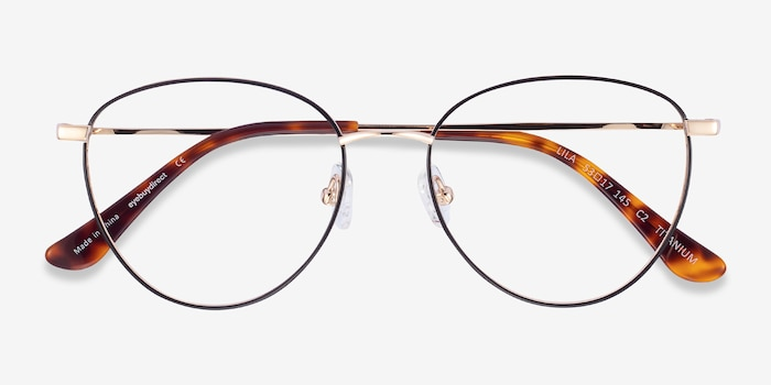 Lila Black & Gold Titanium Eyeglass Frames from EyeBuyDirect, Closed View