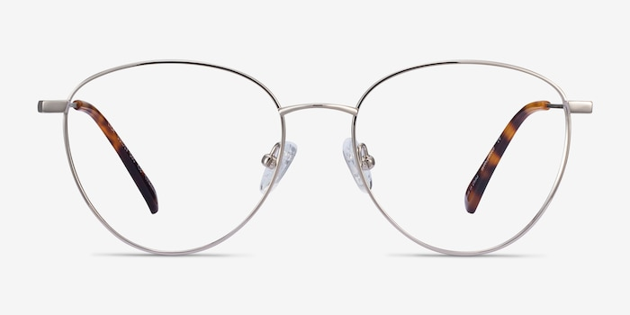 Lila Silver Titanium Eyeglass Frames from EyeBuyDirect, Front View
