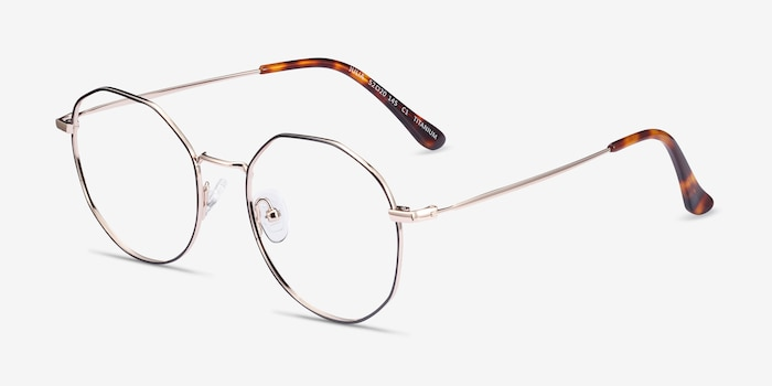 Julia Black & Gold Titanium Eyeglass Frames from EyeBuyDirect, Angle View