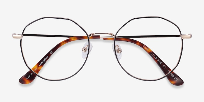 Julia Black & Gold Titanium Eyeglass Frames from EyeBuyDirect, Closed View