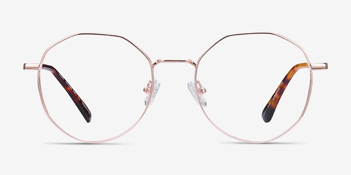 Julia Rose Gold Titanium Eyeglass Frames from EyeBuyDirect, Front View
