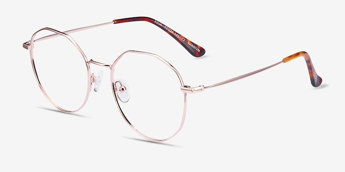 Julia Rose Gold Titanium Eyeglass Frames from EyeBuyDirect, Angle View