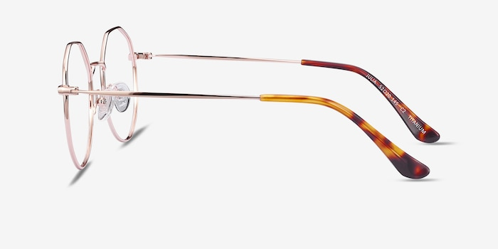 Julia Rose Gold Titanium Eyeglass Frames from EyeBuyDirect, Side View