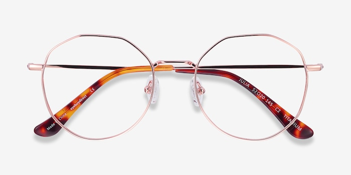 Julia Rose Gold Titanium Eyeglass Frames from EyeBuyDirect, Closed View