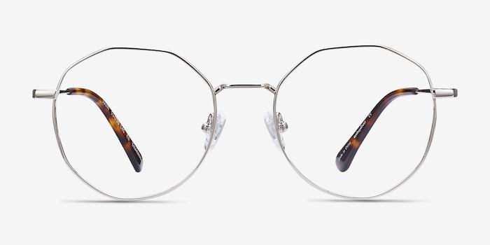 Julia Silver Titanium Eyeglass Frames from EyeBuyDirect, Front View
