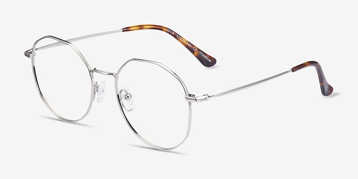 Julia Silver Titanium Eyeglass Frames from EyeBuyDirect, Angle View