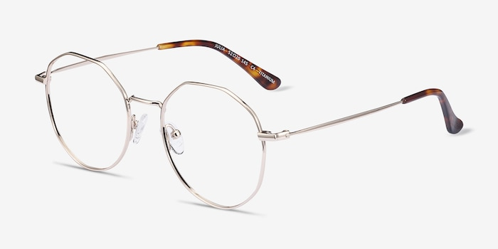 Julia Gold Titanium Eyeglass Frames from EyeBuyDirect, Angle View