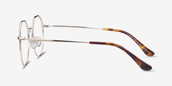 Julia Gold Titanium Eyeglass Frames from EyeBuyDirect, Side View