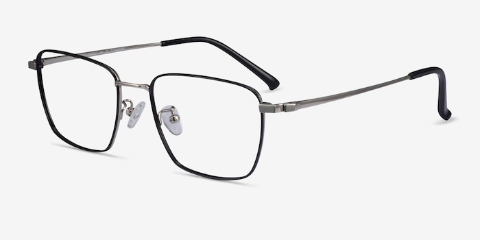Lorem Black Silver Titanium Eyeglass Frames from EyeBuyDirect, Angle View
