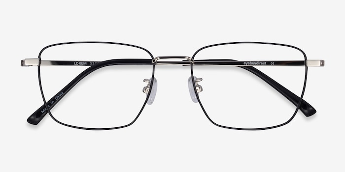 Lorem Black Silver Titanium Eyeglass Frames from EyeBuyDirect, Closed View