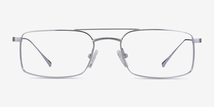 Johnson Silver Titanium Eyeglass Frames from EyeBuyDirect, Front View