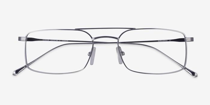 Johnson Silver Titanium Eyeglass Frames from EyeBuyDirect, Closed View