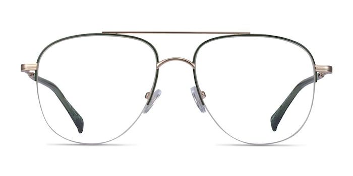 Universe Green Gold Metal Eyeglass Frames from EyeBuyDirect