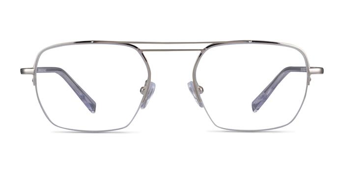Cabrini Silver Clear Metal Eyeglass Frames from EyeBuyDirect