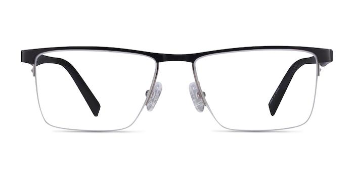 Chronos Silver Black Metal Eyeglass Frames from EyeBuyDirect