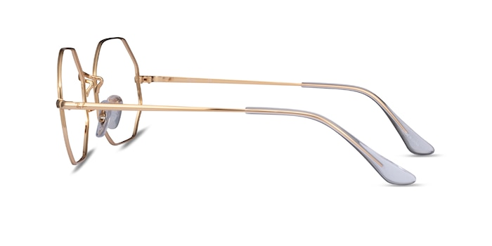 Ray-Ban Octagon Gold Metal Eyeglass Frames from EyeBuyDirect