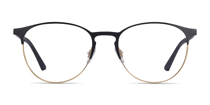 Ray-Ban RB6375 Black Gold Metal Eyeglass Frames from EyeBuyDirect