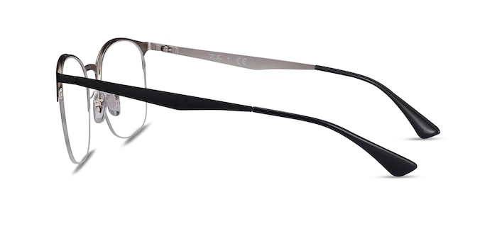 Ray-Ban RB6422 Black Silver Metal Eyeglass Frames from EyeBuyDirect