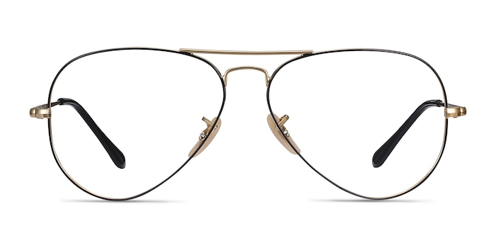 Ray-Ban RB6489 Black Gold Metal Eyeglass Frames from EyeBuyDirect