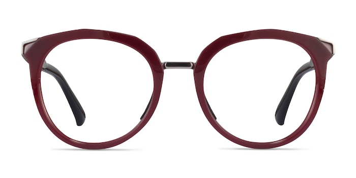 Oakley Top Knot Red & Silver Acetate Eyeglass Frames from EyeBuyDirect