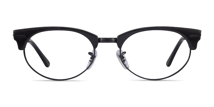 Ray-Ban Clubmaster Oval Black Striped Acetate Eyeglass Frames from EyeBuyDirect
