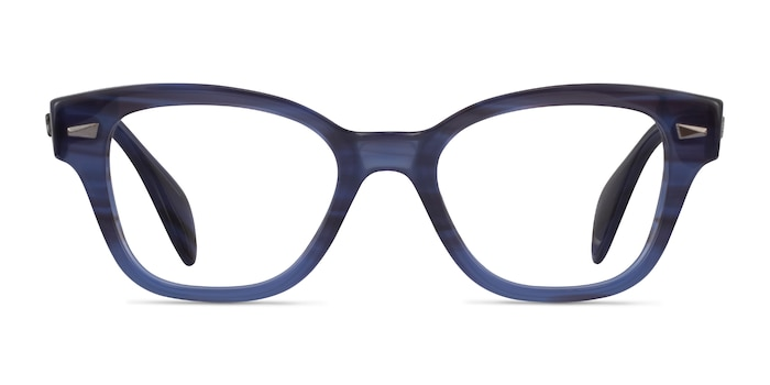 Ray-Ban RB0880 Blue Striped Acetate Eyeglass Frames from EyeBuyDirect