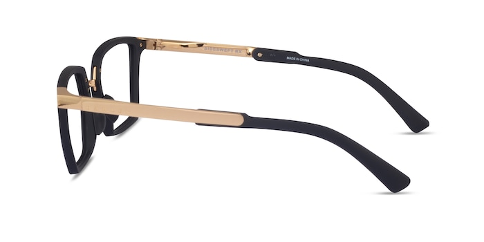 Oakley Sideswept Rx Black & Gold Plastic Eyeglass Frames from EyeBuyDirect