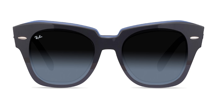 Ray-Ban State Street Gray On Transparent Blue Acetate Sunglass Frames from EyeBuyDirect