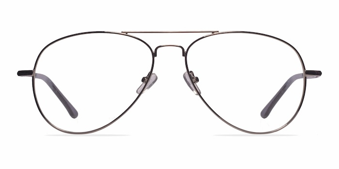 Nantes Silver Metal Eyeglass Frames from EyeBuyDirect
