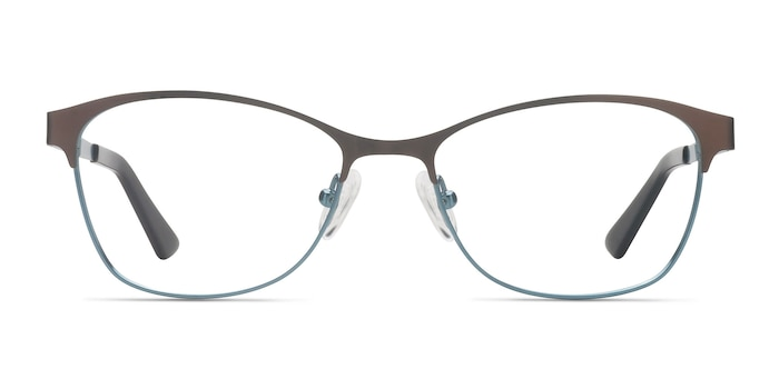 Sabrina Brown Blue Metal Eyeglass Frames from EyeBuyDirect