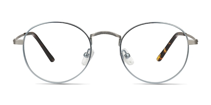 Cupertino Frost Blue Metal Eyeglass Frames from EyeBuyDirect