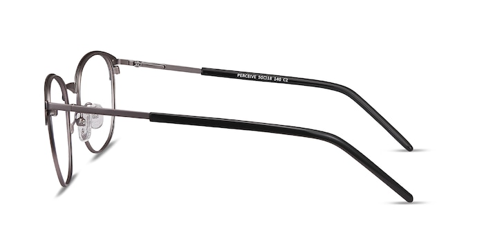 Perceive Black Gunmetal Metal Eyeglass Frames from EyeBuyDirect