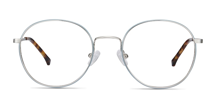 Progress Blue Silver Metal Eyeglass Frames from EyeBuyDirect