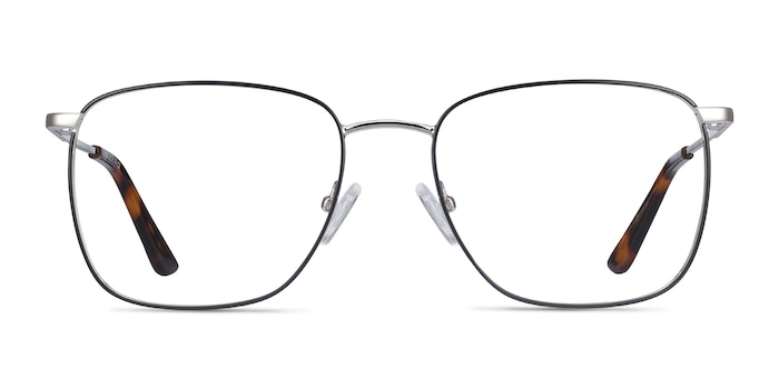 Reason Black Silver Metal Eyeglass Frames from EyeBuyDirect