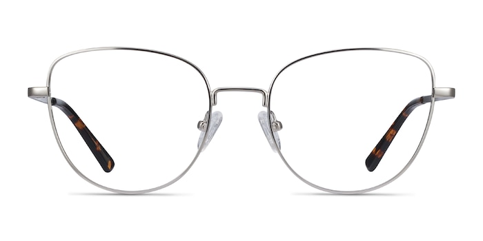 Clotilde Silver Metal Eyeglass Frames from EyeBuyDirect