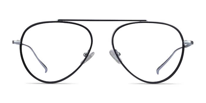 Cana Black  Silver Metal Eyeglass Frames from EyeBuyDirect