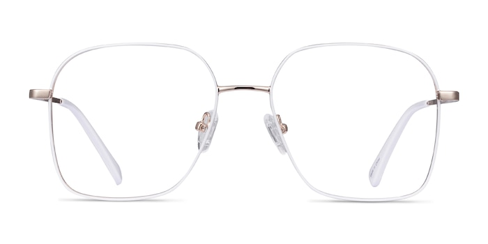 Arty White & Gold Metal Eyeglass Frames from EyeBuyDirect