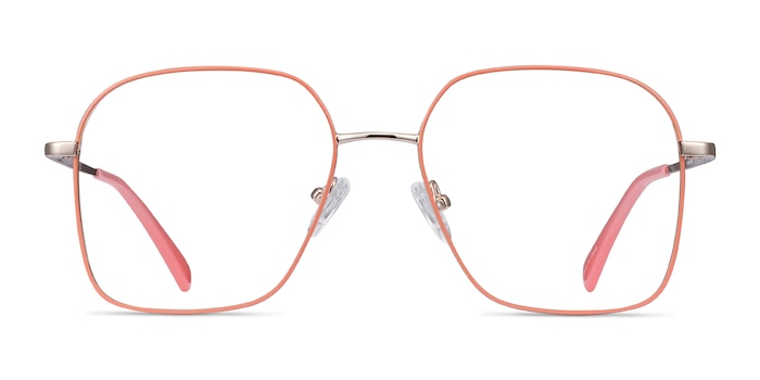 Arty Coral & Gold Metal Eyeglass Frames from EyeBuyDirect
