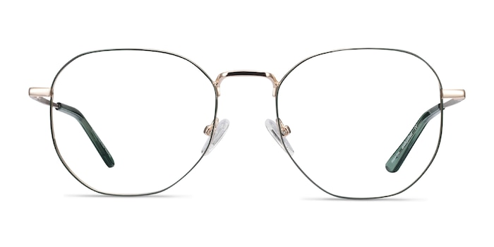 Ethan Avocado & Gold Metal Eyeglass Frames from EyeBuyDirect