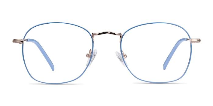 Keith Blue & Gold Metal Eyeglass Frames from EyeBuyDirect